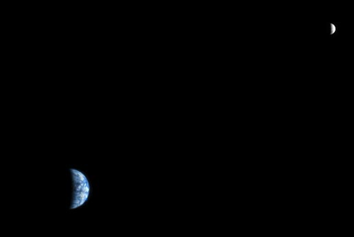 Earth and Moon as seen from Mars