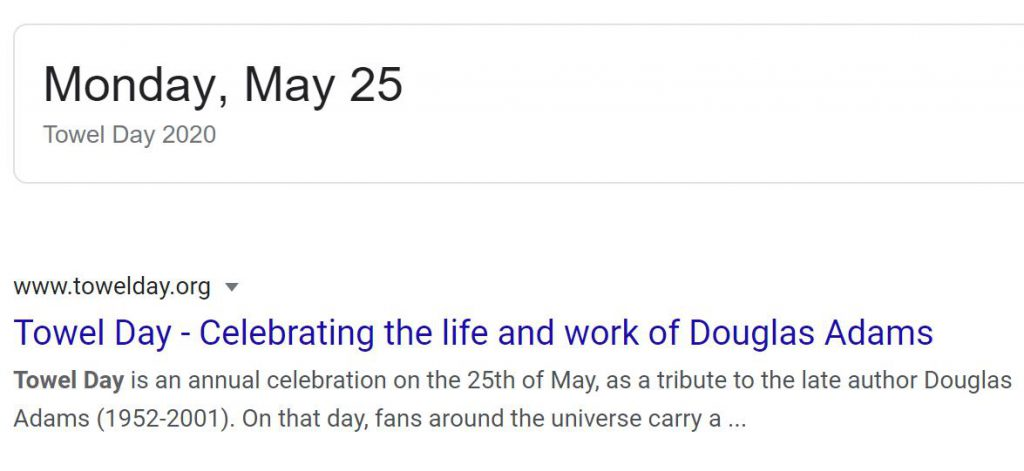 Google search result for Towel Day